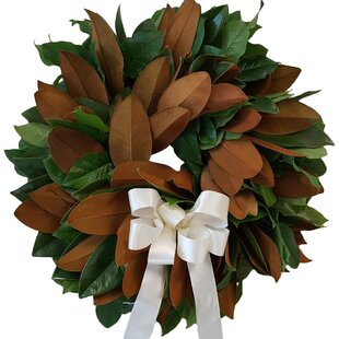 White Magnolia Wreath | Wayfair