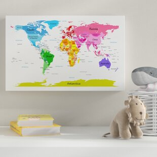 Superior U0027World Map For Kids IIu0027 Graphic Art On Wrapped Canvas