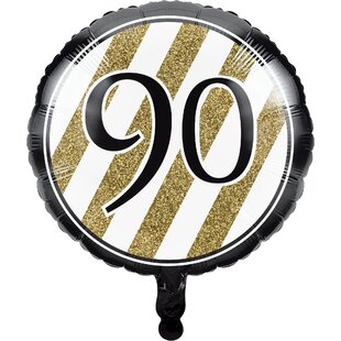 Black and Gold 90th Birthday Mylar Balloon