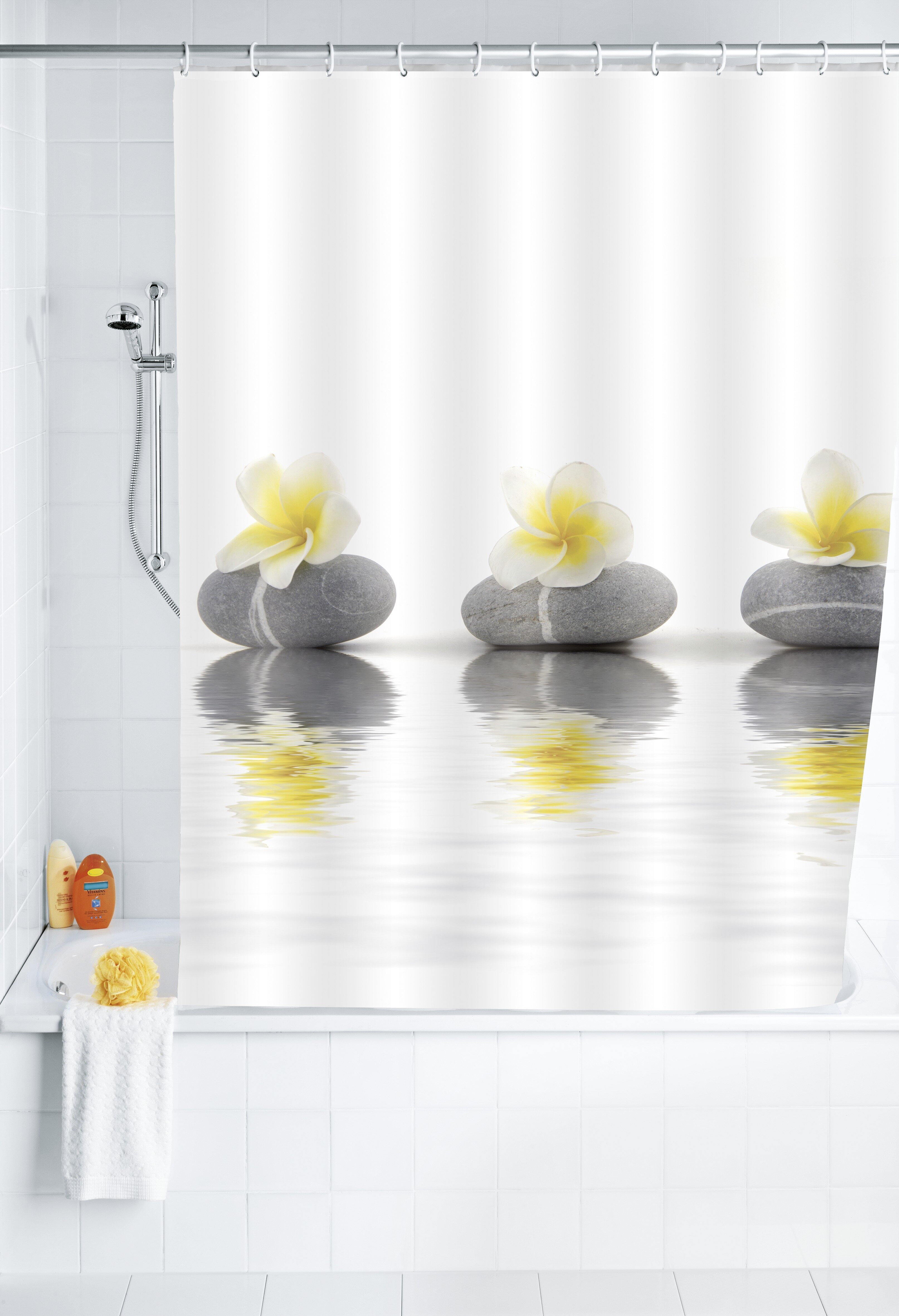 Wenko Stones With Flower Shower Curtain Reviews