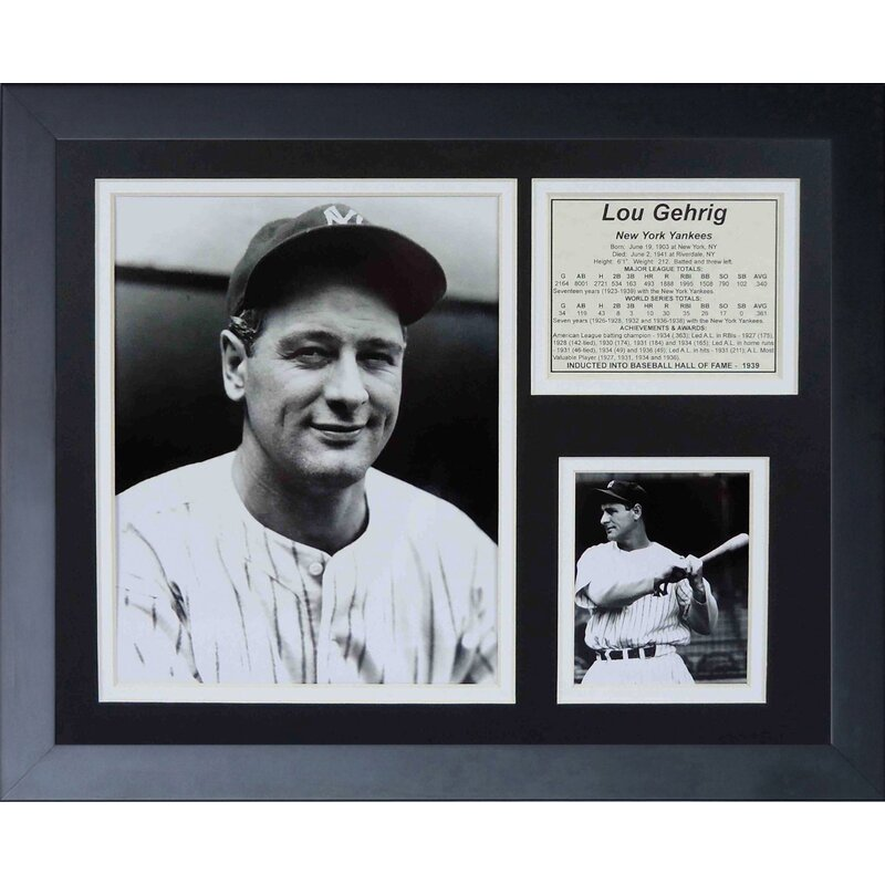 374ba0cbd Legends Never Die Lou Gehrig Framed Memorabilia | Wayfair