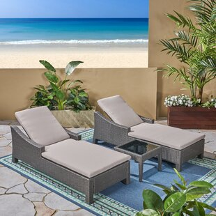 Vern Outdoor Sun Lounger Set with Cushions and Table