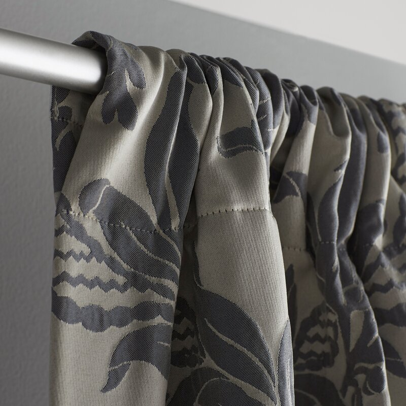 Beere Damask Room Darkening Rod Pocket Single Curtain Panel ...
