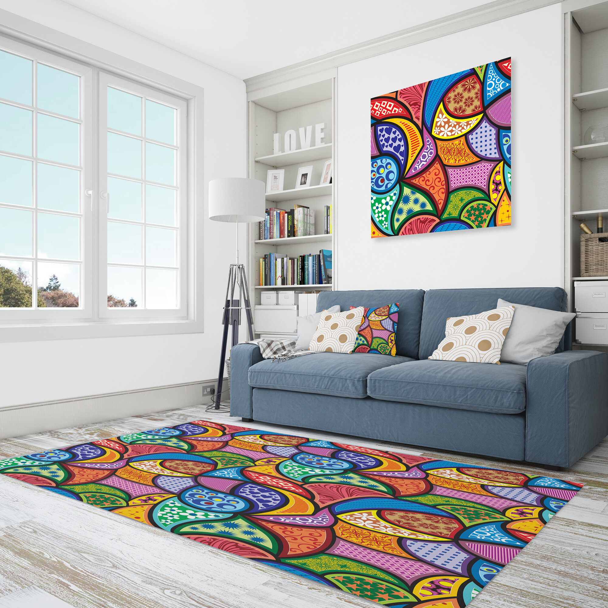 Picture of: East Urban Home Abstract Polyester Blue Yellow Purple Area Rug Wayfair