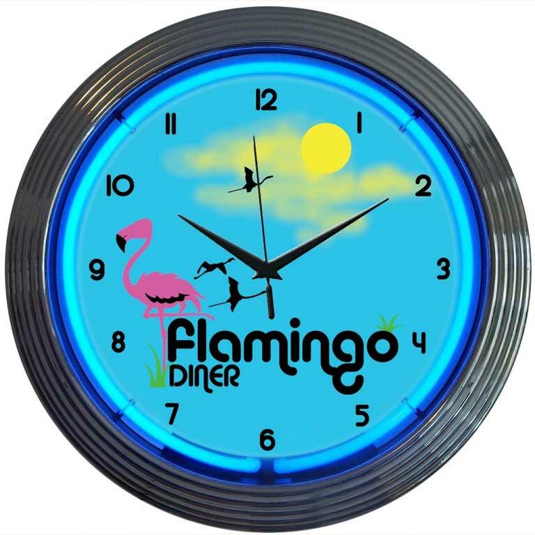 Retro 15 Flamingo Diner Wall Clock