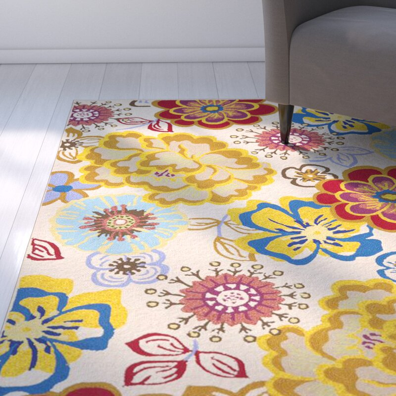 Ebern Designs Hayes Hand Hooked Red Yellow Blue Area Rug Reviews Wayfair