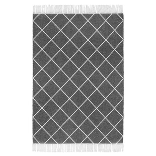 Glitter Flat Woven Cotton Anthracite White Rug