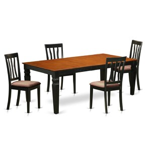 Beesley 5 Piece Extendable Solid Wood Dining Set