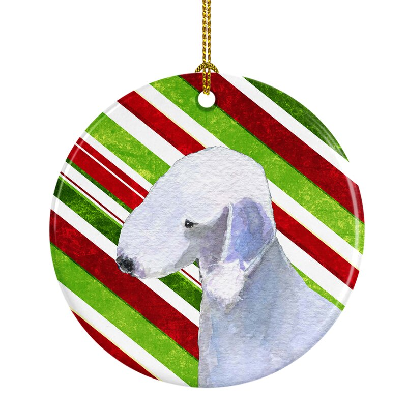 The Holiday Aisle Bedlington Terrier Holiday Christmas Ceramic Hanging Figurine Ornament Wayfair