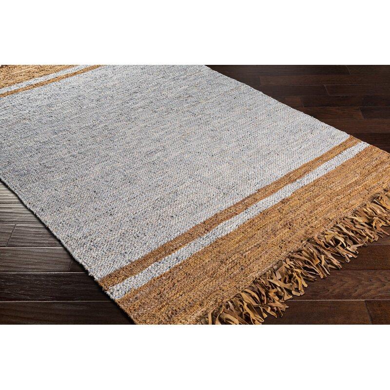 August Grove Abeilles Striped Handmade Flatweave Leather Light Gray Orange Area Rug Wayfair