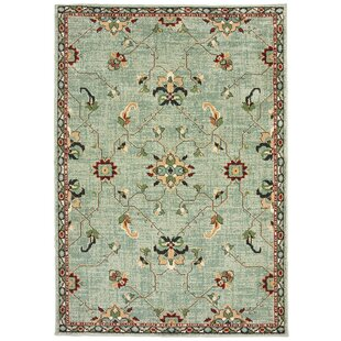 Hedberg Traditional Floral Mint Green/Beige Indoor/Outdoor Area Rug
