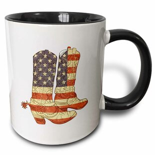 Usa Flag Cowboy Boots Patriotic Art Coffee Mug