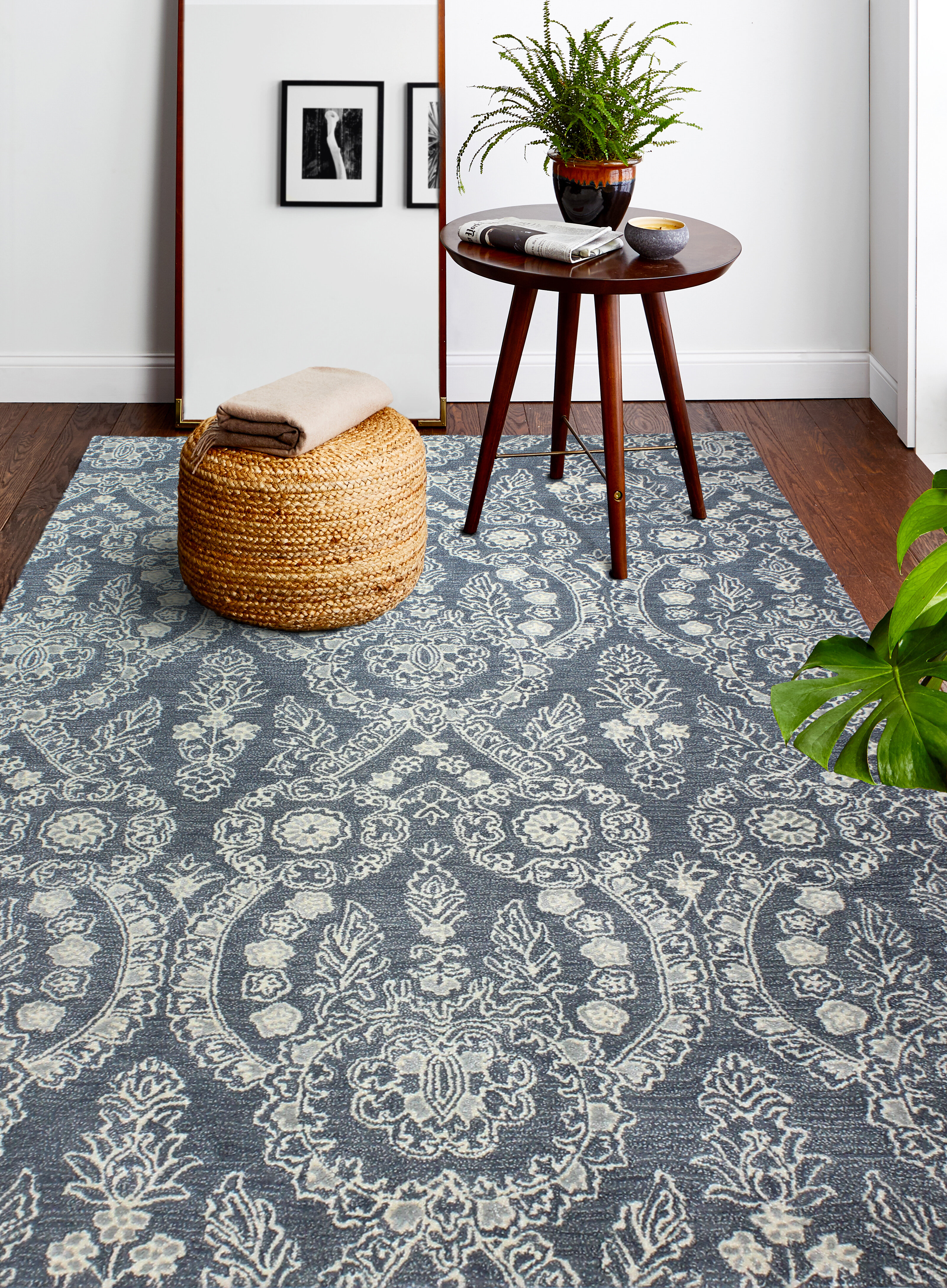 Dakota Fields Arthurs Floral Wool Blue Area Rug Wayfair