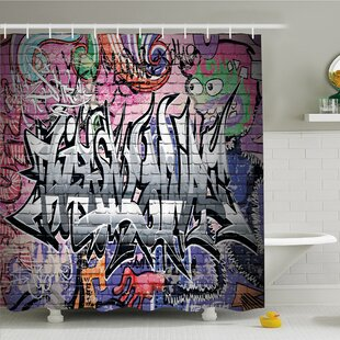 Rustic Home Graffiti Grunge Art Wall Creepy Underground City Paint Shower Curtain Set