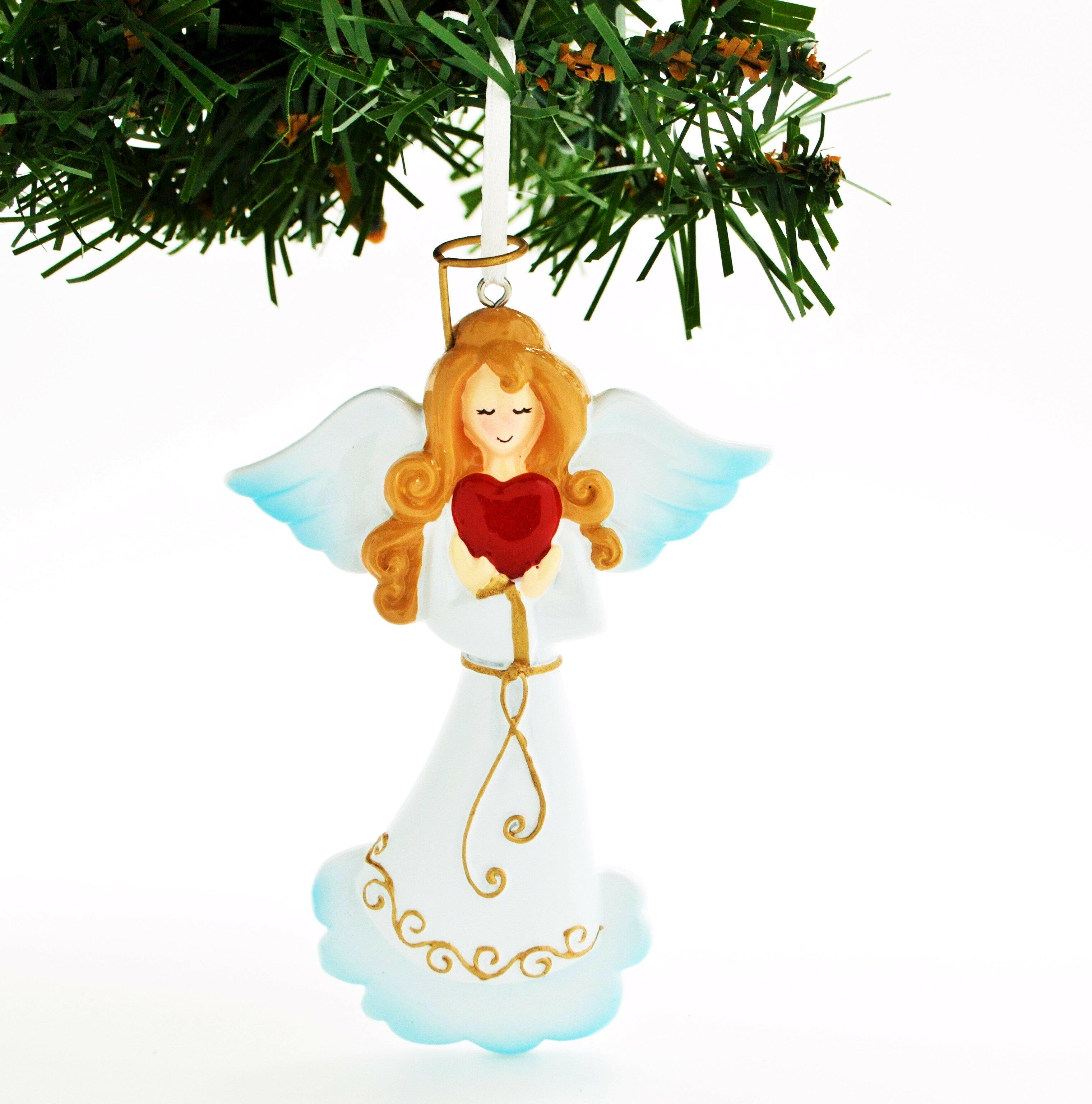 Personalized By Santa Elegant Angel With Dove Bird Hanging Figurine Wayfair