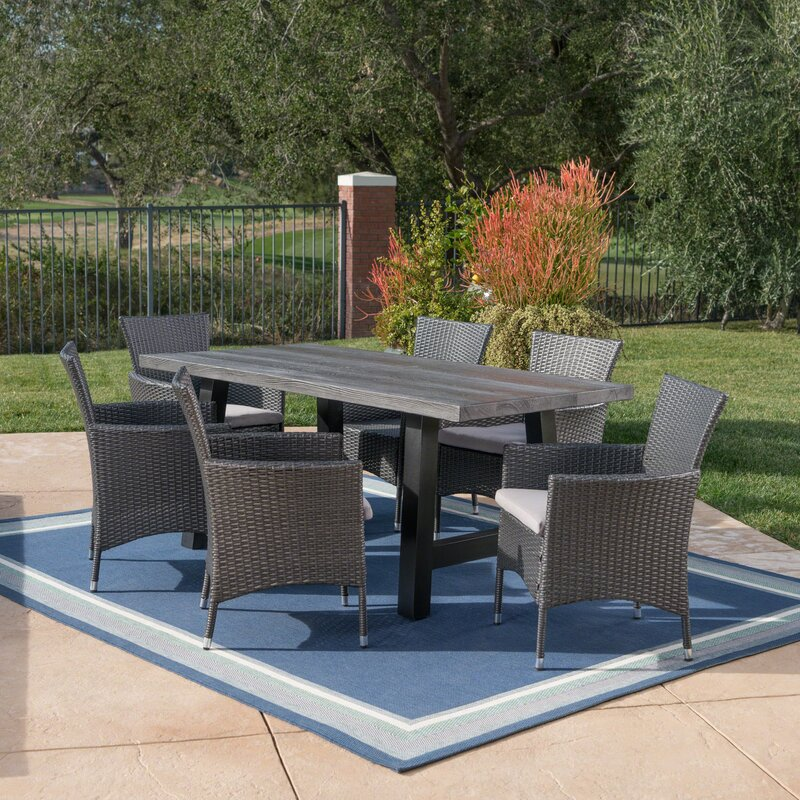 Hudnall Outdoor 7 Piece Dining Set With Cushions