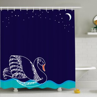 Swan Floating on Waves Shower Curtain Set