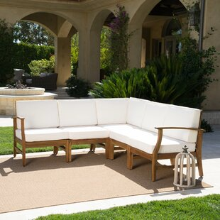 Antonia Teak Patio Sectional with Cushions by Mistana