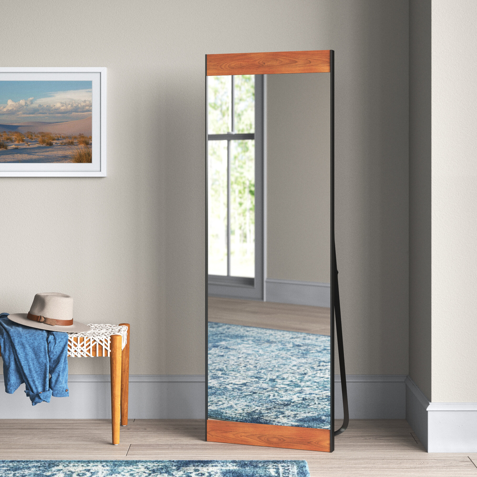 White Finish RAAMZO Solid Wood Cheval Floor Standing Tilting Arch Mirror with Curved Legs