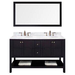 bob 60 double bathroom vanity set with white top and mirror