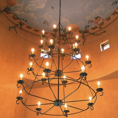 2nd Ave Design Estrella 24-Light Wagon Wheel Chandelier Finish: Tuscan Ivory, Shade: Tuscan Alabaster