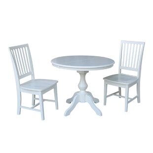 Cascade 3 Piece Extendable Solid Wood Dining Set Alcott Hill