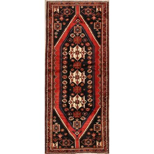 Price comparison One-of-a-Kind Mortensen Hamedan Persian Geometric Hand-Knotted Runner 4' x 9'10 Wool Red/Black Area Rug By Isabelline