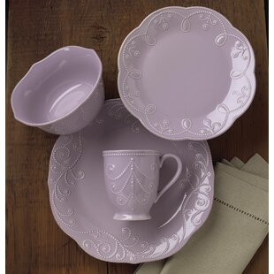 French Perle Violet 4 Piece Place Setting, Service for 1