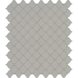 Domino Arabesque Mesh Mounted Porcelain Mosaic Tile In Gray
