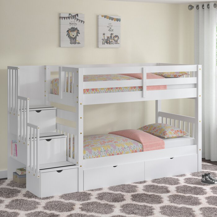 Bon Tena Twin Over Twin Stairway Bunk Bed With Drawers