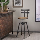 Sylvania Swivel Adjustable Height Bar Stool by 17 Stories