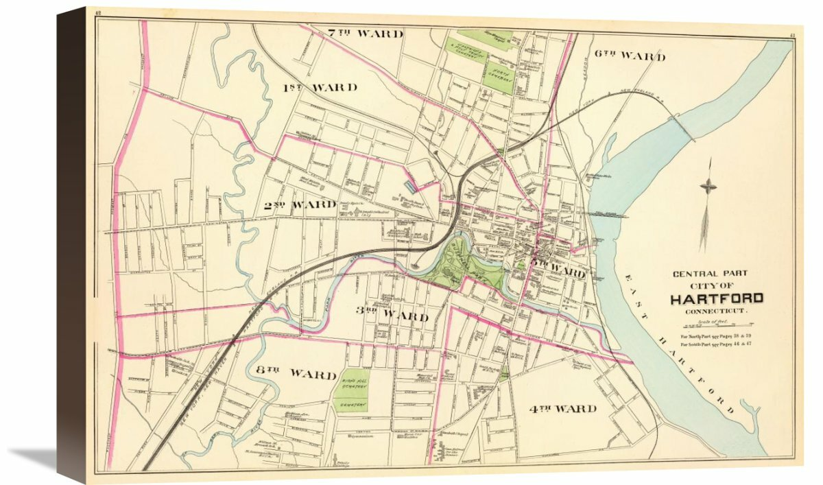 Global Gallery Connecticut Hartford Central 1893 By D H Hurd And Co Graphic Art On Wrapped Canvas Wayfair