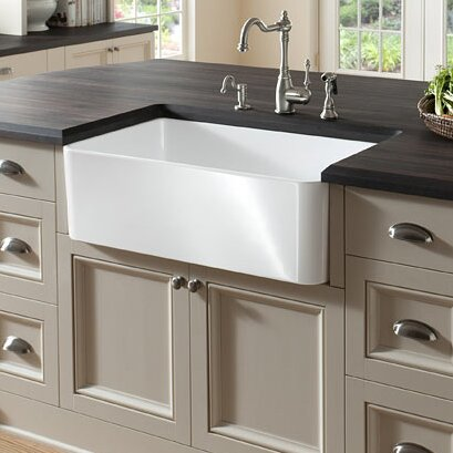 "Fireclay 23.5"" L X 18.8"" W Butler Kitchen Sink"