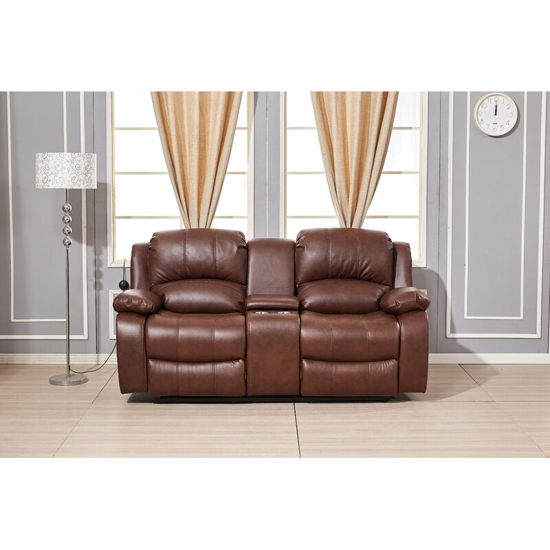 Red Barrel Studio Convergent Faux Leather Pillow Top Arm Reclining Loveseat Reviews Wayfair