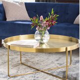 Massenburg Cross Legs Coffee Table with Tray Top by Mercury Row®