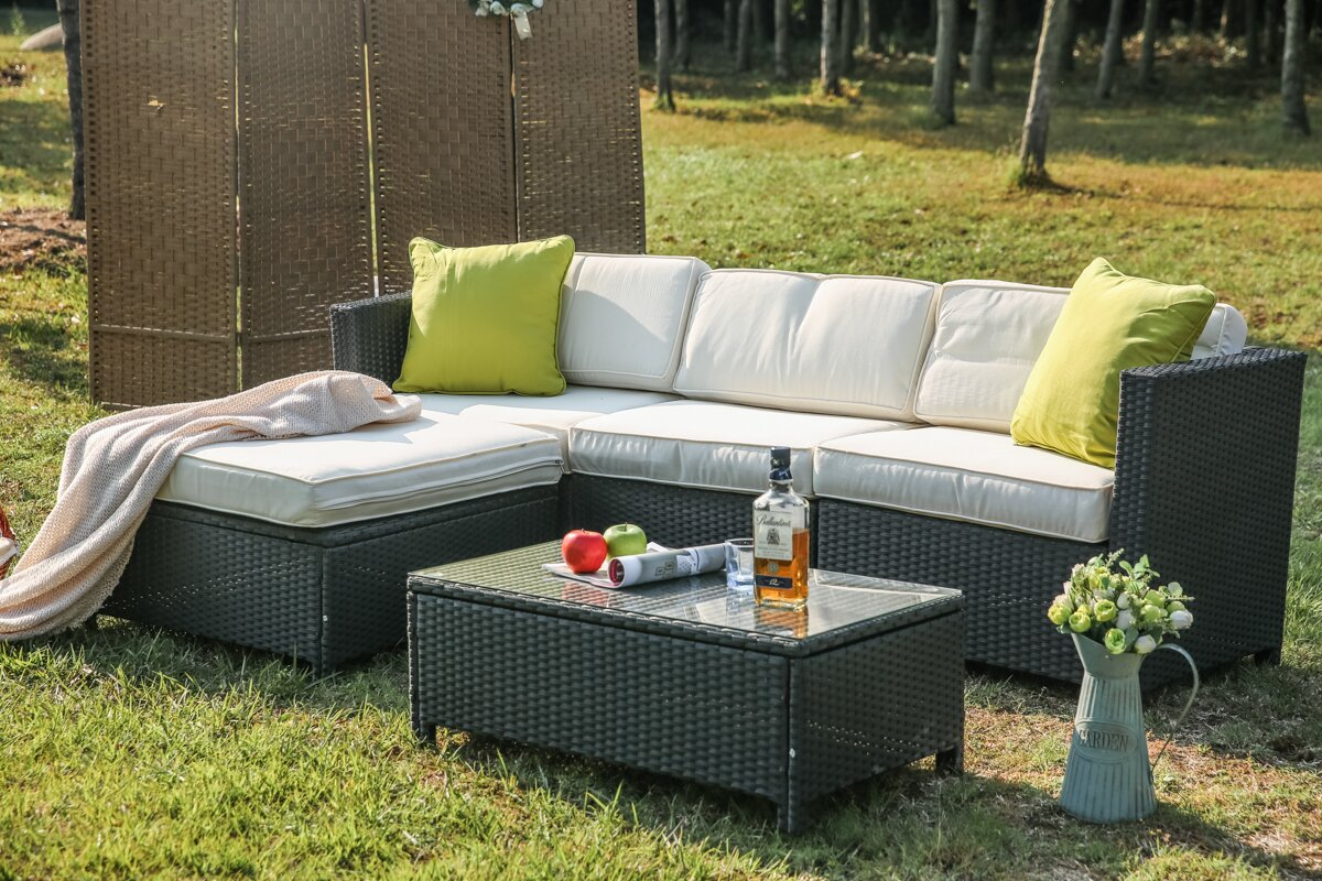 Venuti 5 Piece Sectional Set with Cushions