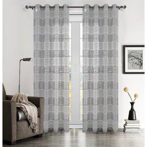 Addie Striped Semi-Sheer Grommet Curtain Panels (Set of 2)