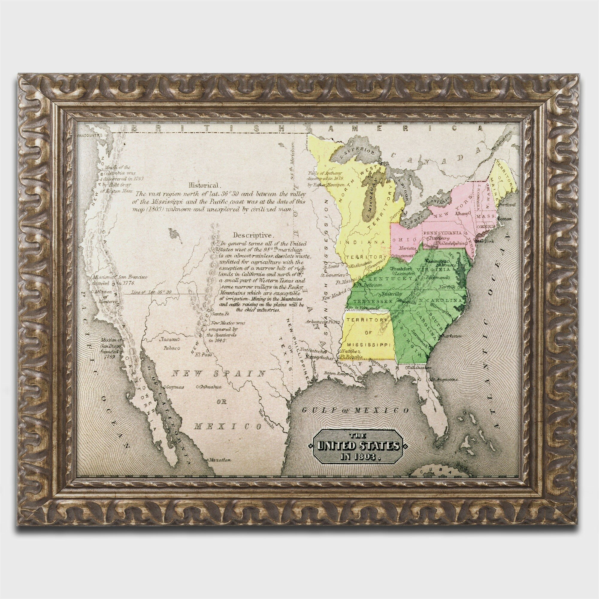 Trademark Art Map Of The United States In Framed Graphic Art - Small framed world map