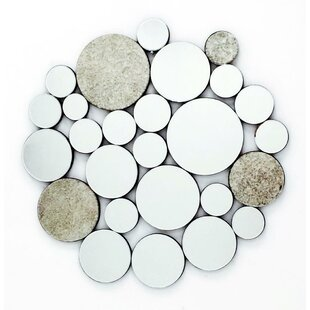 Fab Glass and Mirror Nickless and Dimes Ornate Round Wall Mirror