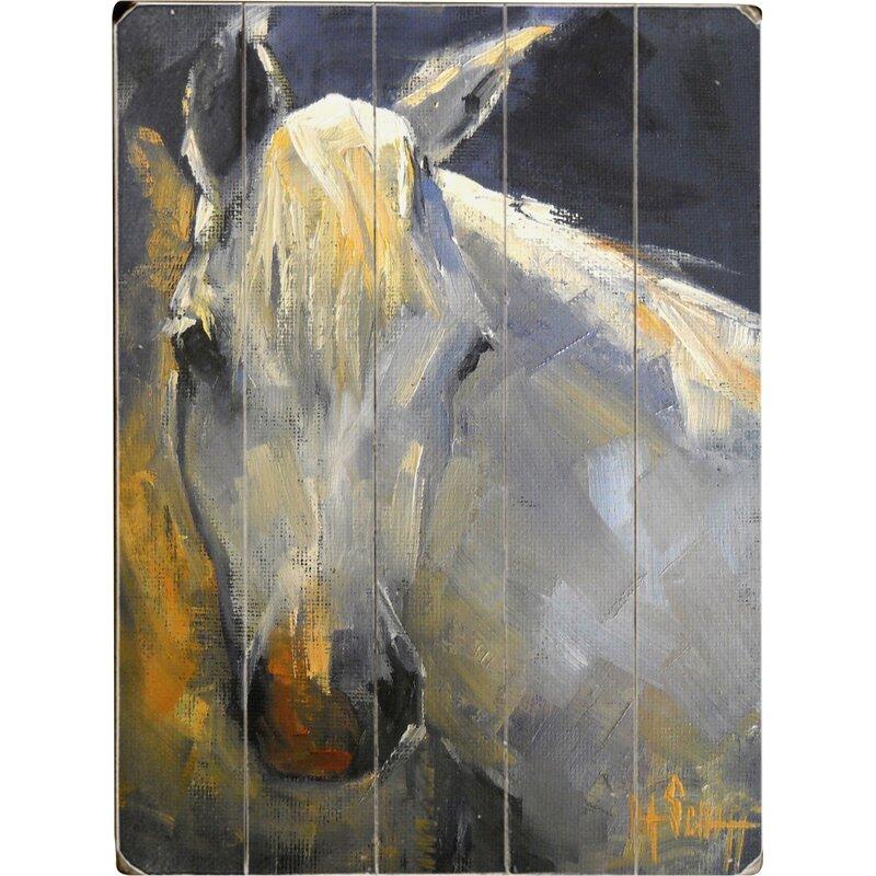 Charlton Home White Horse Wall Art
