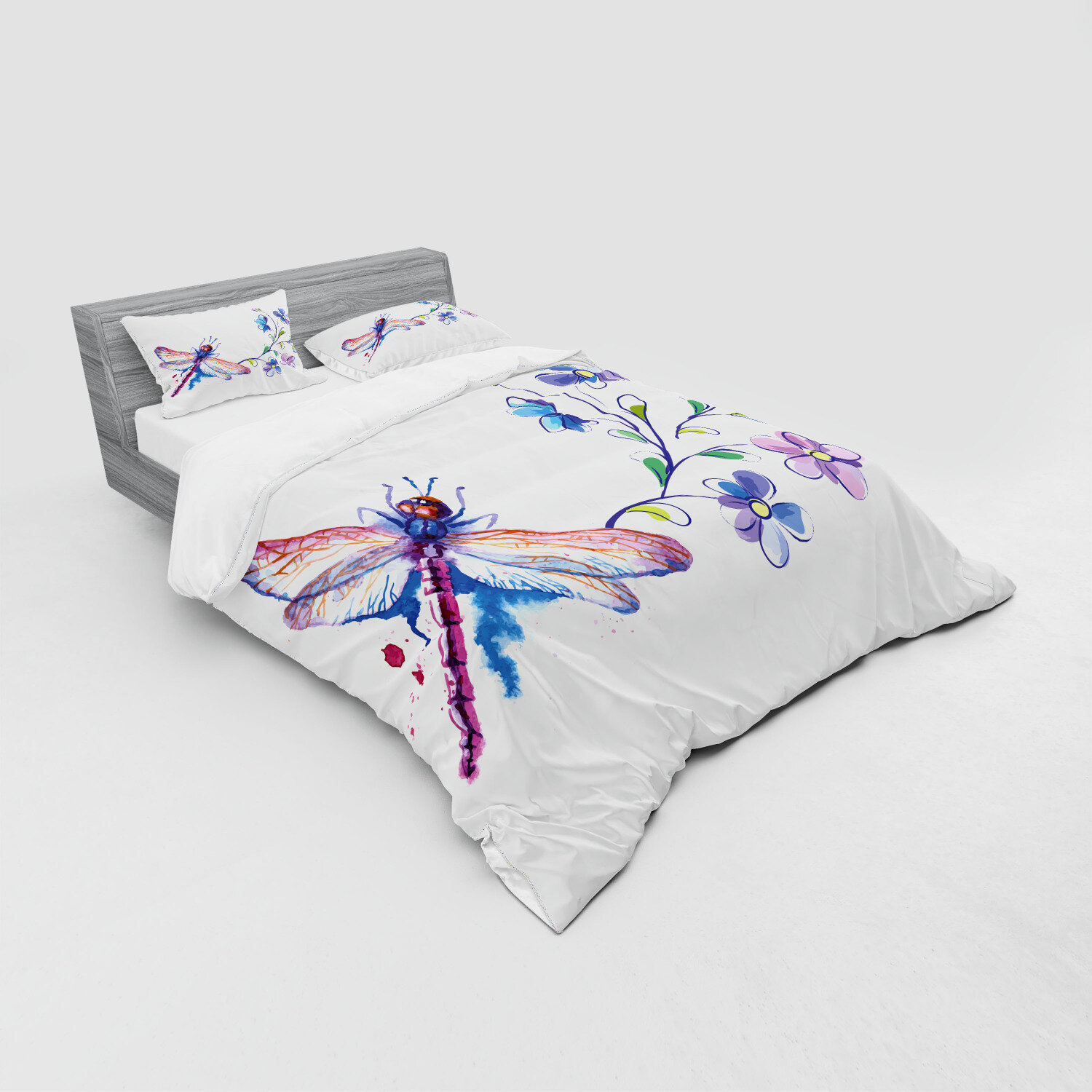 East Urban Home Dragonfly Watercolor Bug Butterfly Like Moth With Branch Ivy Flowers Lilies Art Duvet Cover Set Wayfair