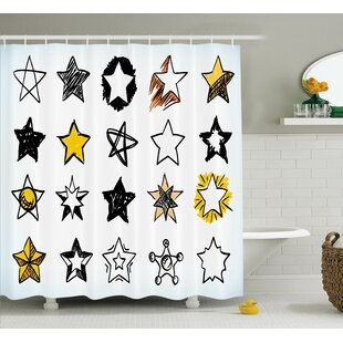 Keisha Sweet Sixteen Stars Hand Drawn Colorful Art Rock Punk Themed Teen Room Art Single Shower Curtain