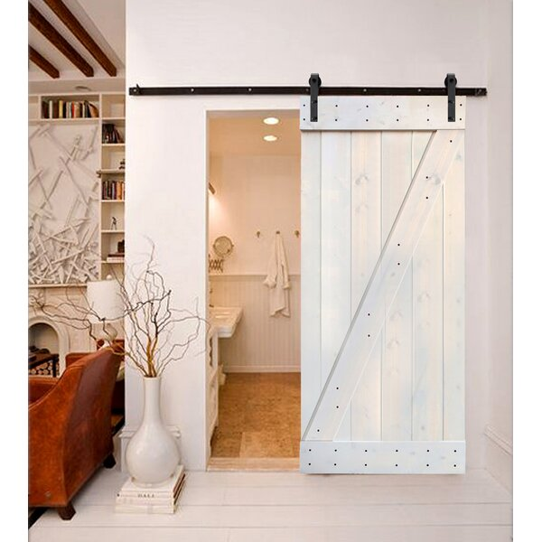 Paneled Wood Painted Z Series Interior Sliding Slab Barn Door With Installation Hardware Kit