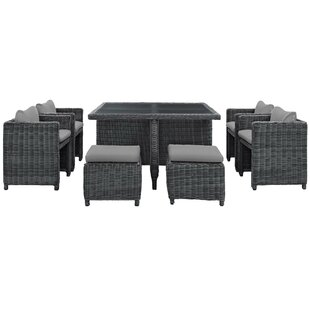 Alaia 9 Piece Rattan Sunbrella Dining Set with Cushions