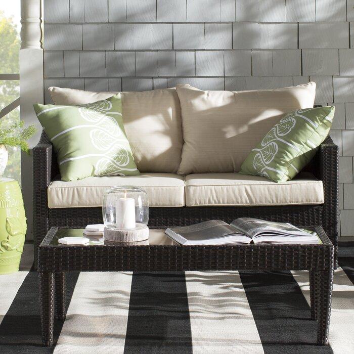Charming Dragoon 2 Piece Rattan Sofa Set With Cushions