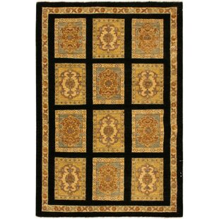 Online Reviews One-of-a-Kind Dorn Hand-Knotted Wool Black/Beige Area Rug By Isabelline
