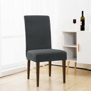 Jacquard Box Cushion Dining Chair Slipcover in Box Cushion Design