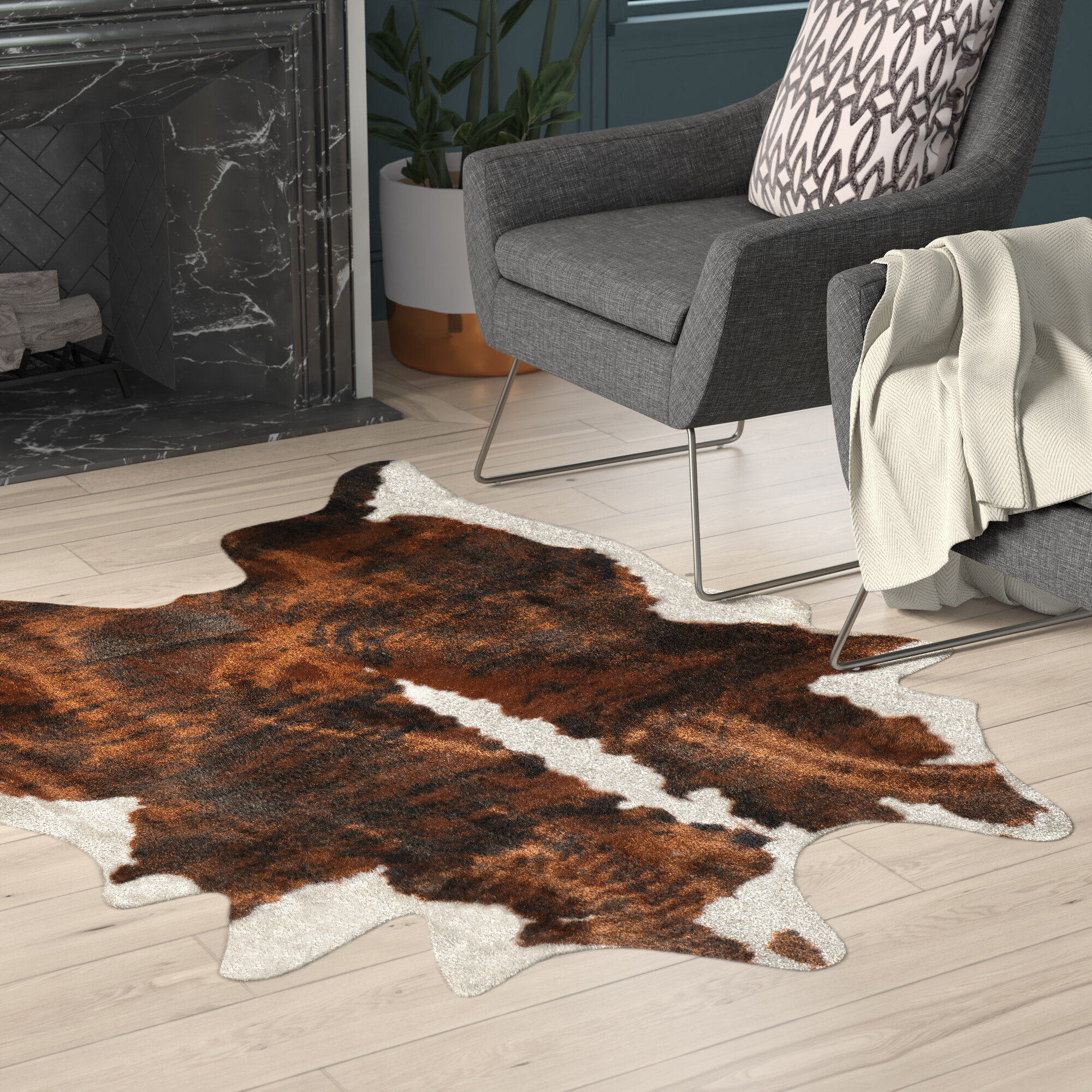Hand Tufted Faux Cowhide Brindle Area Rug