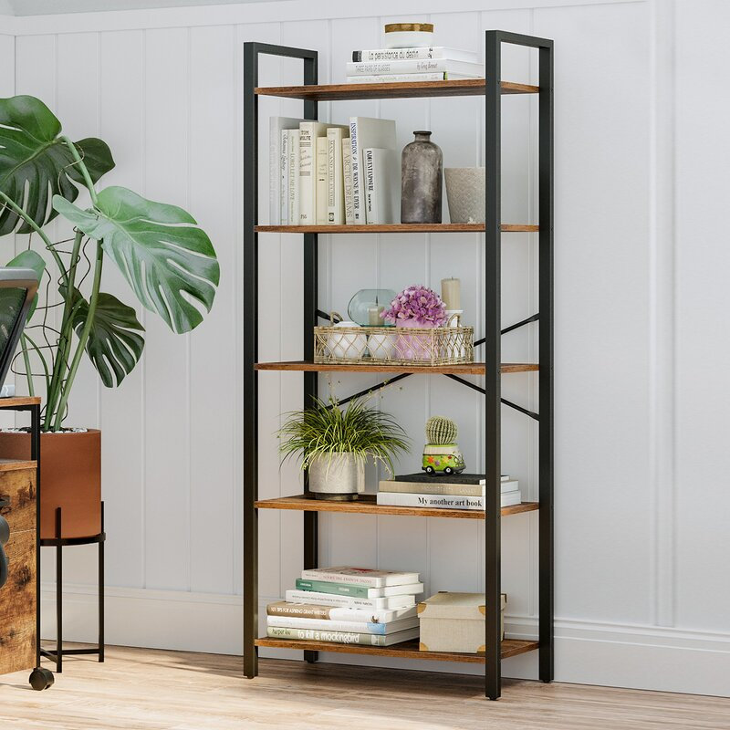 17 Stories 5 Tier Storage Rack Bookshelf With Steel Frame For Living Room Office Study Hallway Industrial Style Rustic Brown And Black Lls061b01 Reviews Wayfair Ca
