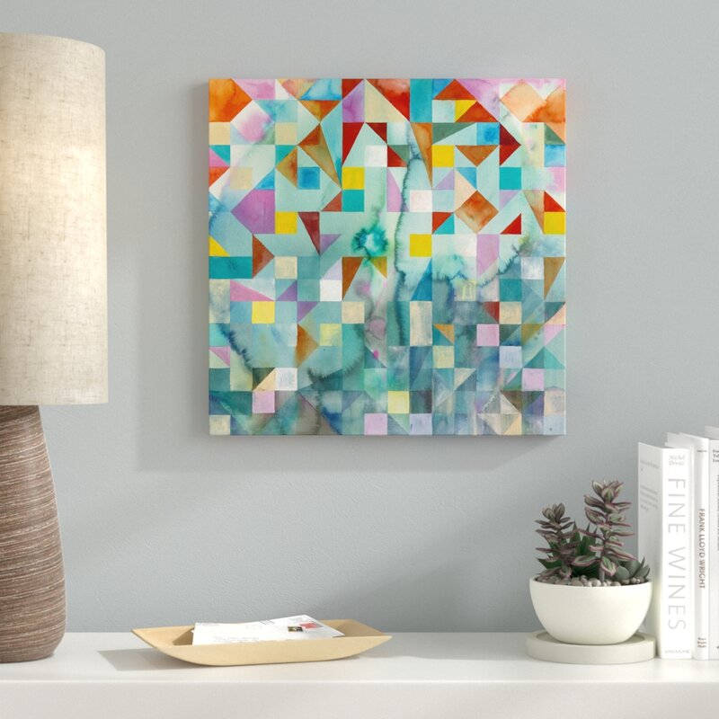 'Modern Patchwork' Acrylic Painting Print on Canvas - Patchwork Wall Decor